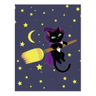 Chat de sorcière de vol cartes postales