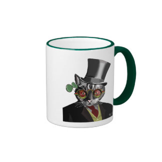 Chat de Steampunk - chapeau supérieur et verres Mug Ringer