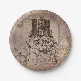Chat de Steampunk Kitty dans le chapeau supérieur, Assiettes En Papier