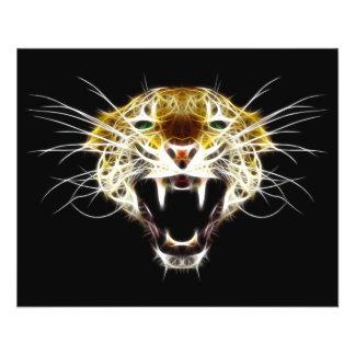 Chat de tête de léopard d'hurlement prospectus personnalisés