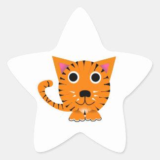 Chat de tigre mignon de bande dessinée autocollants en étoile