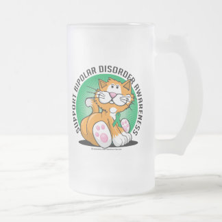 Chat de trouble bipolaire frosted glass beer mug