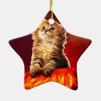 chat de volcan, chat vulcan, ornement étoile en céramique