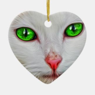 Chat de yeux verts ornement cœur en céramique
