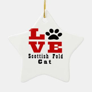 Chat Designes de pli d'écossais d'amour Ornement Étoile En Céramique