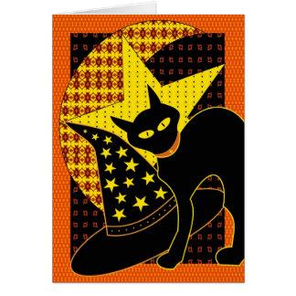 Chat d'étoile carte de vœux