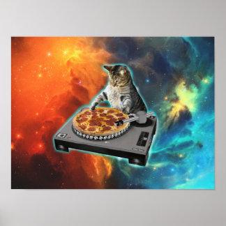 Chat DJ avec la table saine de jockey de disque Posters