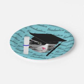 Chat d'obtention du diplôme assiettes en papier