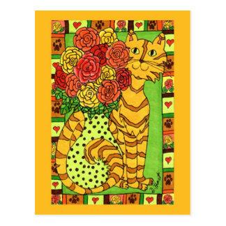 Chat d'or avec des roses carte postale