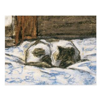 Chat dormant sur un lit par Claude Monet Carte Postale