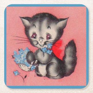 chat doux de minou dessous-de-verre carré en papier