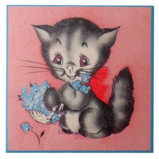 chat doux de minou grand carreau carré