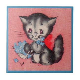 chat doux de minou petit carreau carré