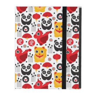 Chat, dragon, et panda chanceux de la Chine Coque iPad