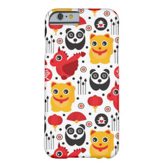 Chat, dragon, et panda chanceux de la Chine Coque iPhone 6 Barely There