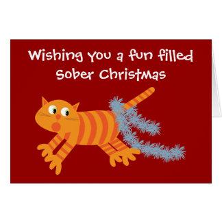 Chat drôle avec la carte de Noël de sobriété de