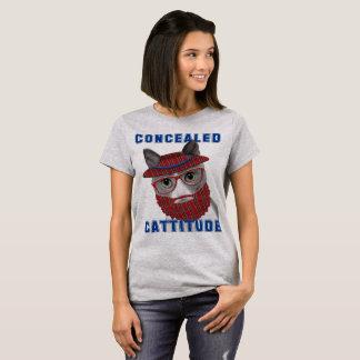 Chat drôle Cattitude caché par Meme T-shirt