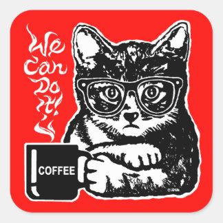 Chat drôle motivé par le café sticker carré
