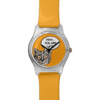 chat drôle ouais… vous êtes en retard montres bracelet