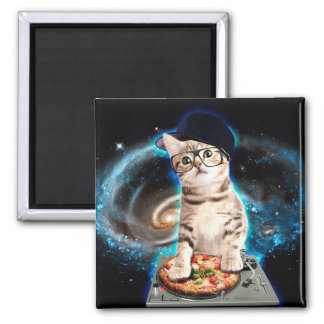 chat du DJ - chat de l'espace - pizza de chat - Aimant