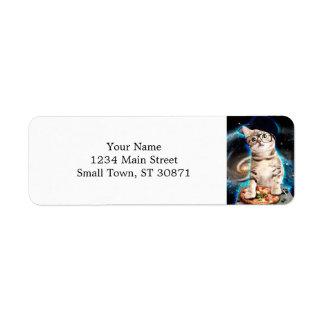 chat du DJ - chat de l'espace - pizza de chat - Étiquettes D'adresse Retour