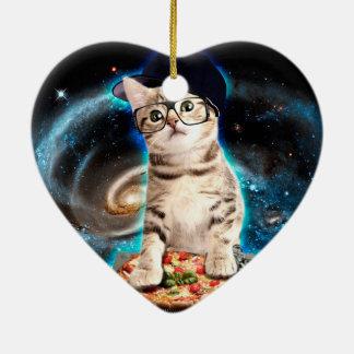 chat du DJ - chat de l'espace - pizza de chat - Ornement Cœur En Céramique