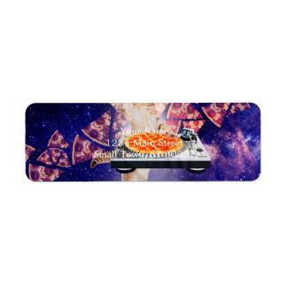 chat du DJ - chat DJ - chat de l'espace - pizza de Étiquettes D'adresse Retour