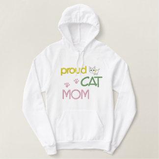 Chat du jour de mère brodé sweat-shirts à capuche