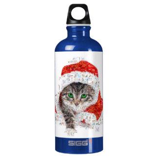 chat du père noël - collage de chat - minou - bouteille d'eau en aluminium