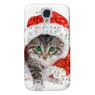 chat du père noël - collage de chat - minou - coque galaxy s4