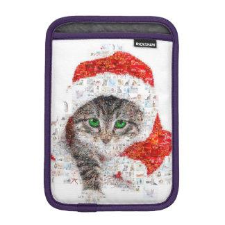 chat du père noël - collage de chat - minou - housse pour iPad mini