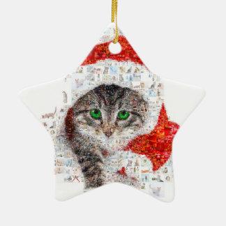 chat du père noël - collage de chat - minou - ornement étoile en céramique