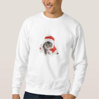 chat du père noël - collage de chat - minou - sweatshirt