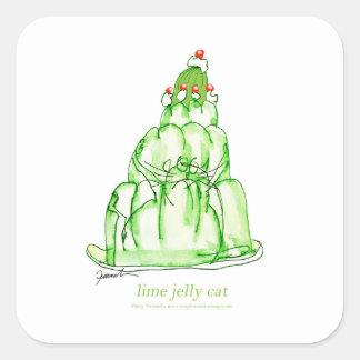 chat élégant de gelée de la chaux des fernandes sticker carré