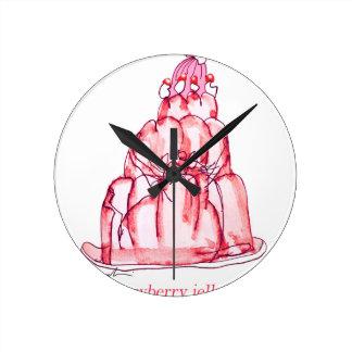 chat élégant de gelée de la fraise des fernandes horloge ronde