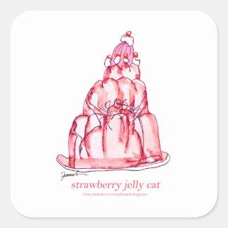 chat élégant de gelée de la fraise des fernandes sticker carré