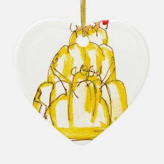 chat élégant de jello du coing des fernandes ornement cœur en céramique