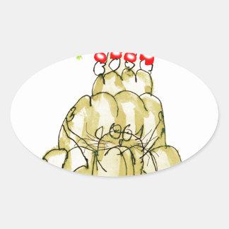 chat élégant de jello du panais des fernandes sticker ovale