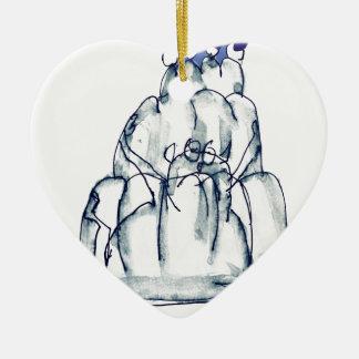chat élégant de jello du pruneau des fernandes ornement cœur en céramique