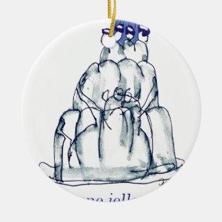 chat élégant de jello du pruneau des fernandes ornement rond en céramique