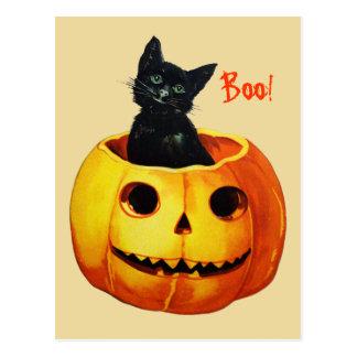 Chat en carte postale vintage de Halloween de