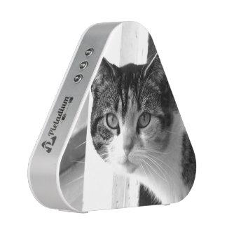 Chat en noir et blanc haut-parleur bluetooth