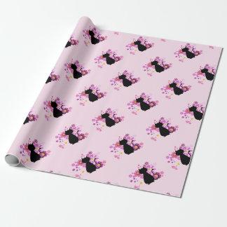 Chat en papier d'emballage mat de fleurs roses papier cadeau