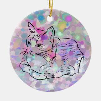 Chat en pastel ornement rond en céramique