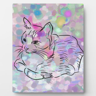 Chat en pastel plaque photo
