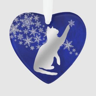 Chat espiègle de flocon de neige argenté bleu