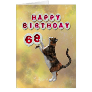 Chat espiègle et soixante-huitième ballons de carte de vœux