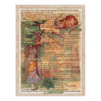 Chat et Alice de Cheshire Carte Postale