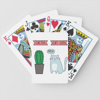 Chat et cactus drôles jeu de cartes