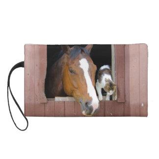 Chat et cheval - ranch de cheval - amants de pochettes avec dragonne